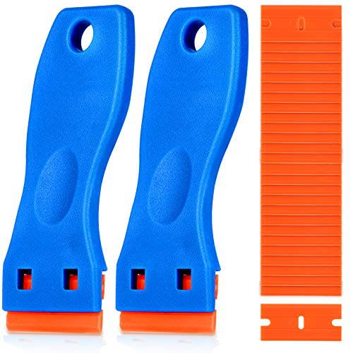Plastic Razor Blade Scraper, 2PCS Scraper Tool with 60PCS Plastic Blades, Cleaning Scraper Remover for Stickers, Decals, Adhesive, Labels, Paint, Glass, Car, Window, Stove Top, Caulk, No Scratches