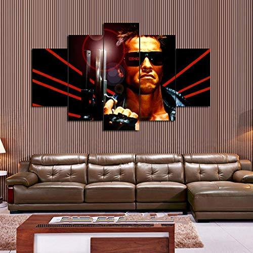 120Tdfc Puzzle-Iron Cuadro En Lienzo 5 Piezas Lienzo HD Pared Hogar Pasillo Mural Listo para Colgar Decor Obra Arte Enmarcar RegaloPelícula Terminator