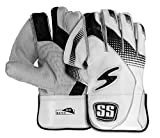 SS Match Cricket Wicket Keeping Gloves & Cotton Inner Gloves - (White Color) ' Adult Size