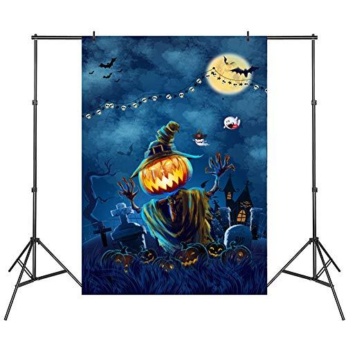 Hete Halloween backdrops fotografie,Halloween pompoen vinyl Dark Moon Night rekwisieten voor Halloween Party Decoratie Studio Foto Rekwisieten (150x210cm, meerkleurig)