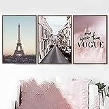 HUANGXLL Pink Feather Paris Tower Road Arte de la Pared Pintura de Lienzo de Navidad Carteles e Impresiones nórdicos Cuadros de Pared para la decoración del hogar de la vida-40x60cmx3Pcs-Sin Marco