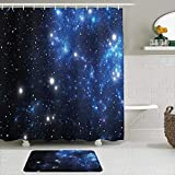 Fabric Shower Curtain and Mats Set,Constellation Outer Space Star Nebula...