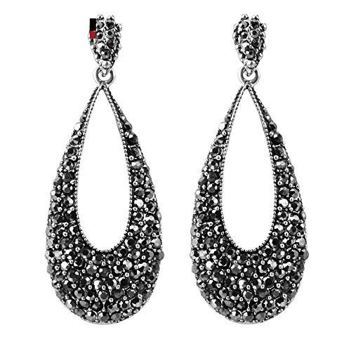 Lujo brillante negro cristal gota pendientes para las mujeres plata antigua Punk fiesta accesorios encanto pendientes vintage joyería