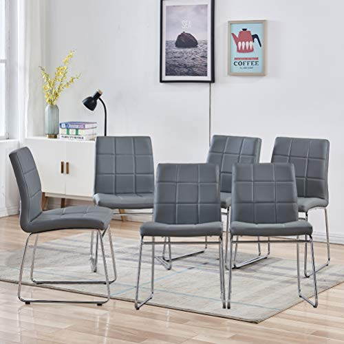 Modern Dining Chairs Set of 6 - Faux Leather Dining Room Chairs, Comfortable Kitchen Chairs with Chrome Legs for Kitchen, Living Room, Bedroom, Dining Room Side Chairs Set of 6 (Grey)