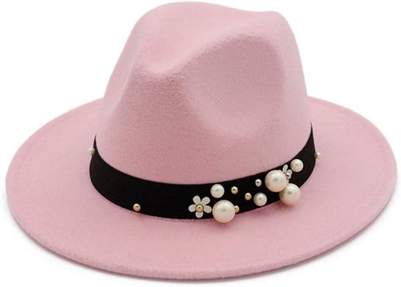 ZLQQLZ Women Cap Fashion Men Women Fedora Hat with Pearl Cloth Belt Panama Jazz Hat Size 56-58CM Hat (Color : Pink, Size : 56-58)