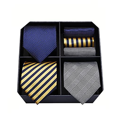 HISDERN Lote 3 PCS Clasico Elegante Lazo de seda de los hombres Conjunto Corbata & Panuelo de bolsillo - Conjuntos multiples