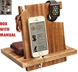 Deal of The Day - Wooden Docking Station for Men - Great Gifts for Men, Women, Boy Friend, Him/Her - Holds Keys, Watch, Wallet, All Cell Phones – with Assemble Instructions