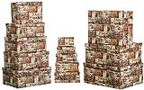 Brandsseller Juego de 13 cajas de almacenamiento con tapa, diferentes tamaños, cajas de regalo de cartón estable, diseño 2