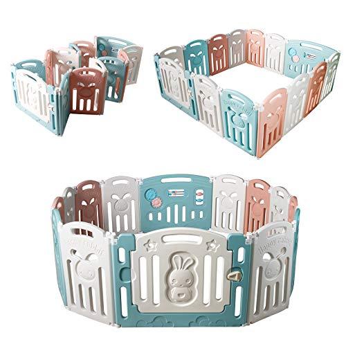 CCLIFE Box per Bambini Sicurezza Barriera Pieghevole Protezione indoor con 18/16/14 pannelli (16+2/12+2/14+2 panel), Colore:Pieghevole/E