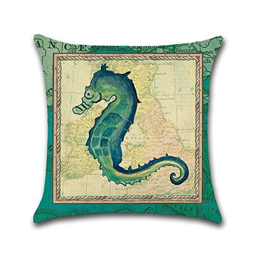 Kussen van katoen, comfortabele stof, zeedieren, zeeman, bedrukt, 45 x 45 cm