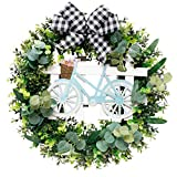 Migaven Pascua Puerta de entrada Corona Simulación Flores Hojas Rejilla Bowknot Bicicleta Primavera Corona Adorno Colgante Decoración para Fiesta de Pascua Suministros de Decoración 19in