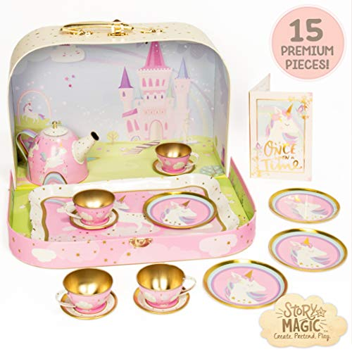 Story Magic Tea Party Playset by Horizon Group USA,Unicorn Tea Set,Pretend Play Activity,On The Go Play,Unicorn Storage Carry Case,Includes Tea Pot,Tea Cups,Plates & Saucers, Perfect for Ages 4+