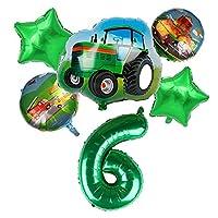 風船 バルーン 6ピース漫画車の風船建設車のホイルバルーントラクターグローブスボーイズギフト誕生日パーティーの装飾子供 3d ( Farbe : Green number 6 )