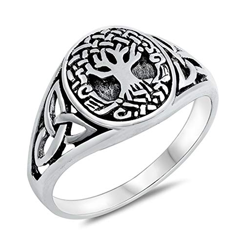Oxidized Celtic Tree of Life Knot Ring New .925 Sterling Silver Band Size 9