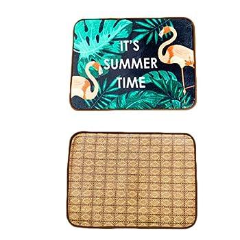 Matelas Tapis for Chien Four Seasons Tapis Universel for Chien Été Pet Cool Pad Golden Retriever Tapis de Sol Tapis de climatisation (Color : Flamingo, Size : S)