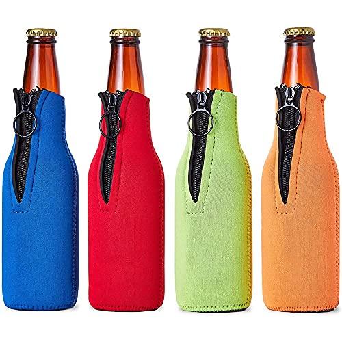 Juvale - Manicotti isolanti per bottiglie di birra (confezione da 4) in neoprene con cerniera, colori assortiti