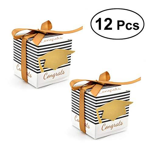 12 STKS Behandel Geschenkpapier Snoep Kartonnen Dozen Europese Strepen Doctoral Cap Patroon met Lint voor Afstuderen Bruiloft Gunsten