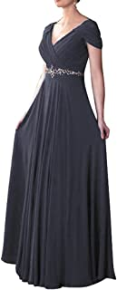 Women's Cap Sleeve V-Neck Ruched Empire Line Mother of The Bride Dresses