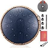 Steel Drum 15 Notes Steel Tongue Drum 13 Inch Tank Drum Zen Drum With Mallets Travel Bag For Beginner Music Lovers Gift ( Color : Navy Blue )