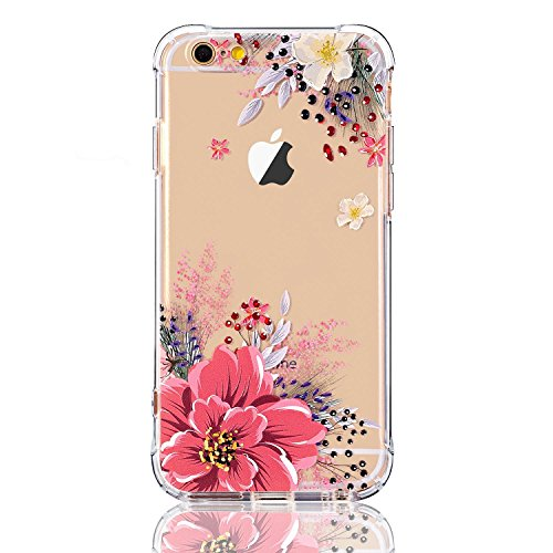 luolnh Compatible with iPhone 5 Case,iPhone 5s Se Case with Flowers, Slim Shockproof Clear Floral Pattern Soft Flexible TPU Back Cover -Pink Peony