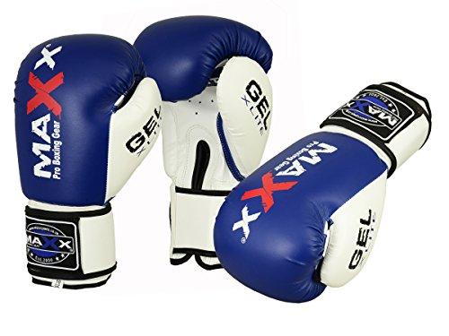 Maxx Blue/White boxing gloves Junior kids & adult sizes Rex leather 4oz - 16oz (8oz)