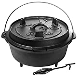 Overmont Camp Dutch Oven 14x14x8.3in All-round Cast Iron Casserole Pot Dual Function Lid Skillet Pre...