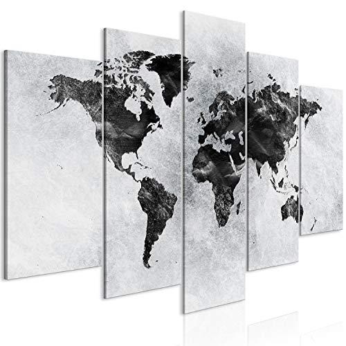 murando Quadro Mappamondo 200x100 cm Stampa su tela in TNT XXL Immagini moderni Murale Fotografia Grafica Decorazione da parete 5 parti grigio k-A-0431-b-m