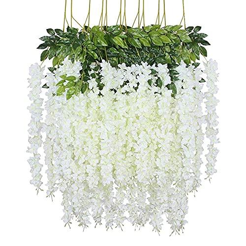 Paquete de 12 flores artificiales de glicina, planta de guirnalda, vid de...