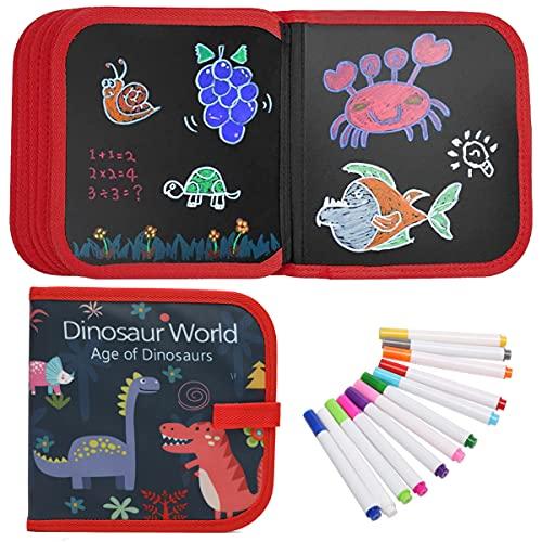 Tabla de Dibujo Portátil para Niños,Tablero de Dibujo de Graffiti,Doodle Juego Infantil,Bloc de Dibujo portátil borrable,Reutilizable,12 bolígrafos borrables de Color,14 Página -Versión dinosaurio