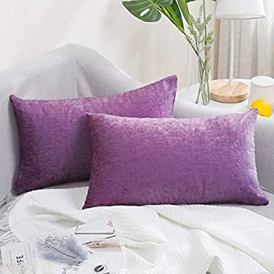 AVOE Pack of 2 Chenille Throw Pillow Covers, Comfy Home Decorative Pillowcase Throw Cushion Case for Couch Sofa Bedroom (12x20 Inch, Purple)