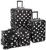 Rockland Vara Softside 3-Piece Upright Luggage Set, Black dot, (20/22/28)