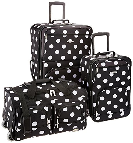 Rockland Vara Softside 3-Piece Upright Luggage Set, Black dot, (20/22/28)
