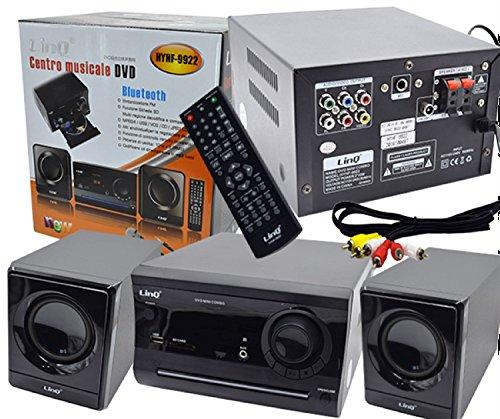 RGDIGITAL - IMPIANTO STEREO MUSICALE KARAOKE LETTORE DVD FILM HOME THEATRE 2.1 DOLBY USB RADIO FM BLUETOOTH LINQ HYHF-9922