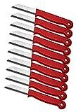 Set da 10 coltelli di Solingen, spelucchino, coltello da cucina, coltello da verdura, in nastro di acciaio inossidabile, Made in Germany, lunghezza totale 16cm, lunghezza lama 6cm, rosso