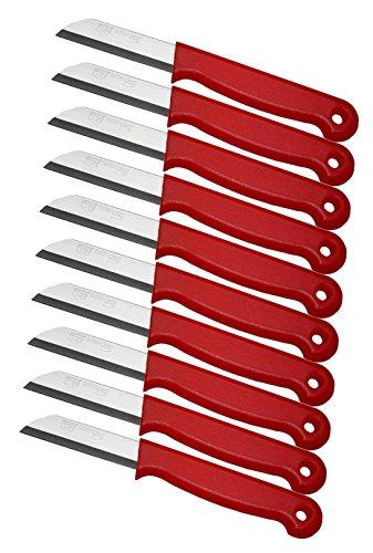 Schwertkrone 10er Messer Set Gemüsemesser Küchenmesser Schälmesser aus Bandstahl - Germany rostfrei 16 cm Gesamtlänge - 6 cm Klinge (Rot)