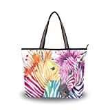 JSTEL Women Large Tote Top Handle Shoulder Bags Zebra Love Watercolor Patern Ladies Handbag M