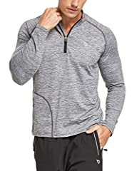 Lightweight breathable fabric is quick-dry and moisture-wicking 4-Way strench material and reglan sleeve allow great range of motion 1/4 zip front for ventilation, zipper garage won't chafe your chin One zipper pocket at front side keeps your persona...