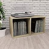 vidaXL Caja para Vinilos Aglomerado Color Roble Sonoma 71x34x36cm Mobiliario Accesorios Organización Música Colección Hobbies Diseño Elegante Clásico