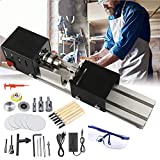 Mini Lathe Bead Polisher Machine DIY Table Woodworking 12-24V DC 100W Variable Speed 4500-9000RPM Grinding Milling Cutting Drill Tool with Power Adapter