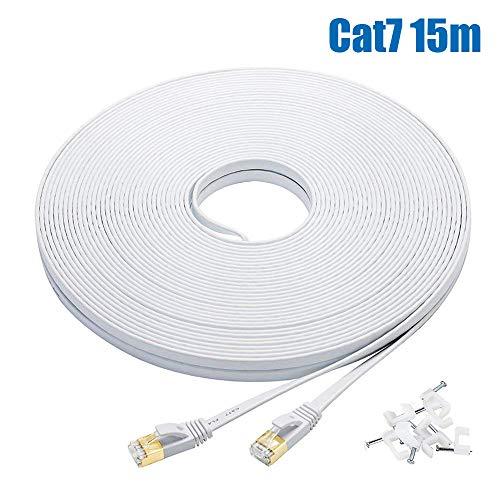 Cat7 LANケーブル 15m ホワイト, FOSTO イーサネットケーブル ウルトラフラットケーブル 高速 STP 爪折れ防止 RJ45コネクタ ギガビット10Gbps/600MHz 金メッキコネクタ 15M 白