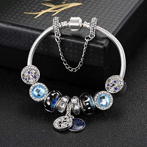 Zhaodong Belle 20cm Style ethnique Boho Blue Sky Star Bracelets de perles de lune Zhaodong