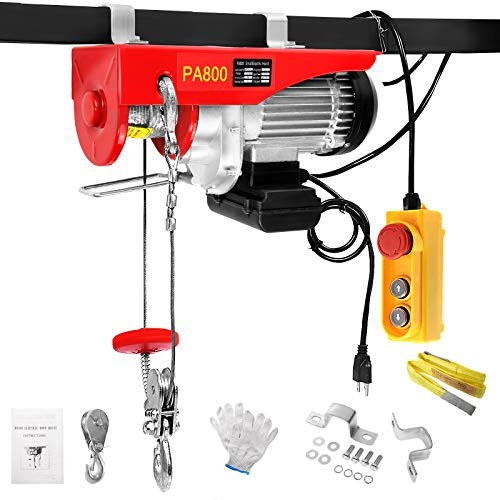 BEAMNOVA 1760lbs Electric Hoist Kit Overhead Winch with 4.92 Ft Remote Control Hook Pulley Lifting Strap Installation Kit Push Button Switch