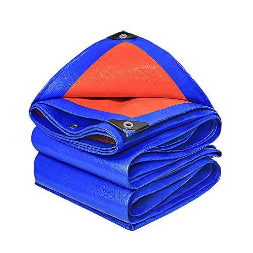 DGLIYJ- Abdeckplanen Lona Impermeable De Polietileno Recubierta De PVC De Doble Cara, Lona Plástica De Aislamiento Térmico Impermeable De 0,32 Mm De Espesor (Azul-Naranja)(Size:4x6m)