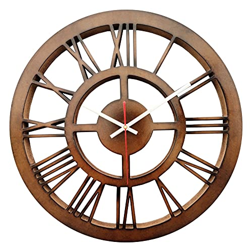 SMARTCAREWOOD MDF Round Analogue Wall Clock for Home/Wall Clock (Brown Round)