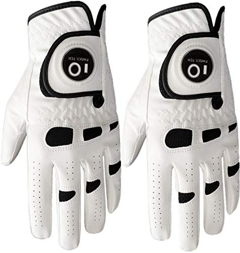 Men's Golf Glove Left Hand Right with Ball Marker Value 2 Pack, Weathersof Grip Soft Comfortable, Fit Size Small Medium ML Large XL, by Finger Ten (X-Large, Worn on Left Hand)
