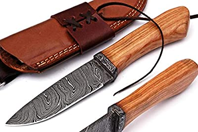 Grace Knives Handmade Damascus Steel Bowie Knife Fixed Blade Hunting Knife 9 Inches with Leather Sheath G-2017 (Olive)