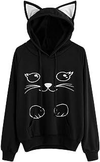 LOOKATOOL Womens Cute Cat Long Sleeve Hoodie Sweatshirt Hooded Pullover Tops Blouse