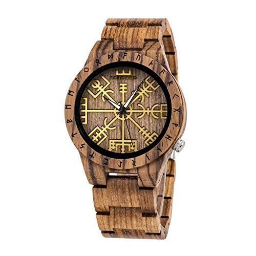 BOBO BIRD Handmade Wooden Mens Watch Unique Runic Circle Watches Golden Symbol of Vegvisir Watches Lightweight Fashion Quartz Wristwatch (Brown)