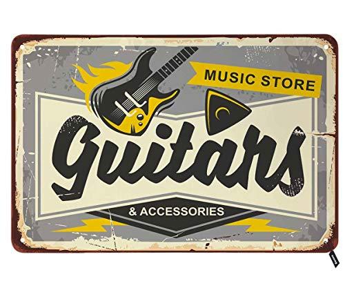 Swono Gitaren Shop Tin borden, Muziek winkel hier op grijze achtergrond Vintage Metalen Tin Teken voor Mannen Vrouwen, Muurdecoratie voor Bars, Restaurants,Cafes Pubs,12x8 Inch