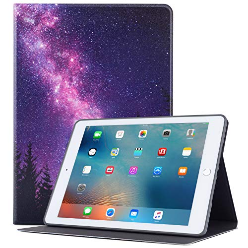 Glowish iPad 9.7 inch Case 2018/2017iPad Air 2 Case, Premium Leather Folio Case Cover and Multiple Viewing Angles Stand for Apple iPad 6th / 5th Gen iPad Air 2/ iPad Air(Galaxy Forest)